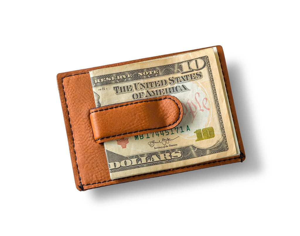 Personalized Rawhide Leatherette Money Clip & Wallet