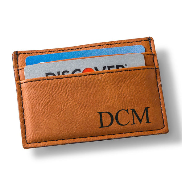 Personalized Rawhide Leatherette Money Clip & Wallet-Brown-