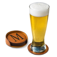 Personalized Rawhide Round Leatherette Coaster Set-Groomsmen Gifts