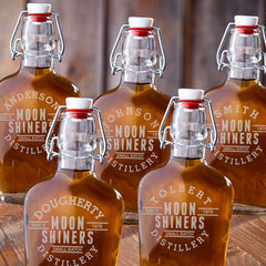 Set of 5 Engraved Vintage Glass Groomsmen Flasks