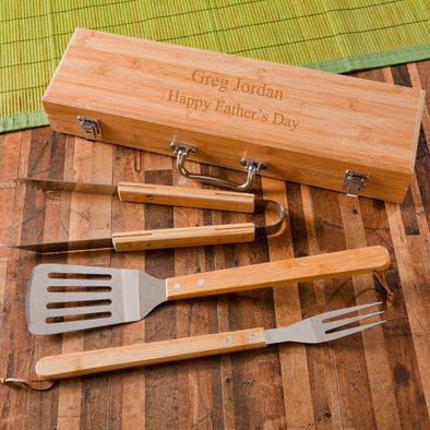 Personalized Grilling Set - Bamboo Case - Stainless Steel - Groomsmen Gift-