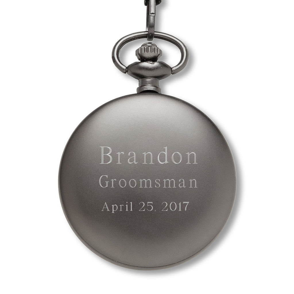 Personalized Pocket Watch - Gears - Gunmetal - Groomsmen Gifts