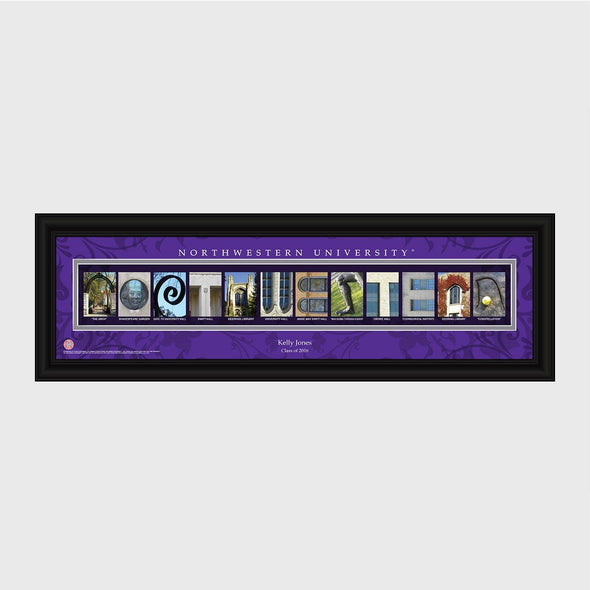 Personalized Big 10 West Division Conference Architectural Campus Art - - University College Art-Northwestern-