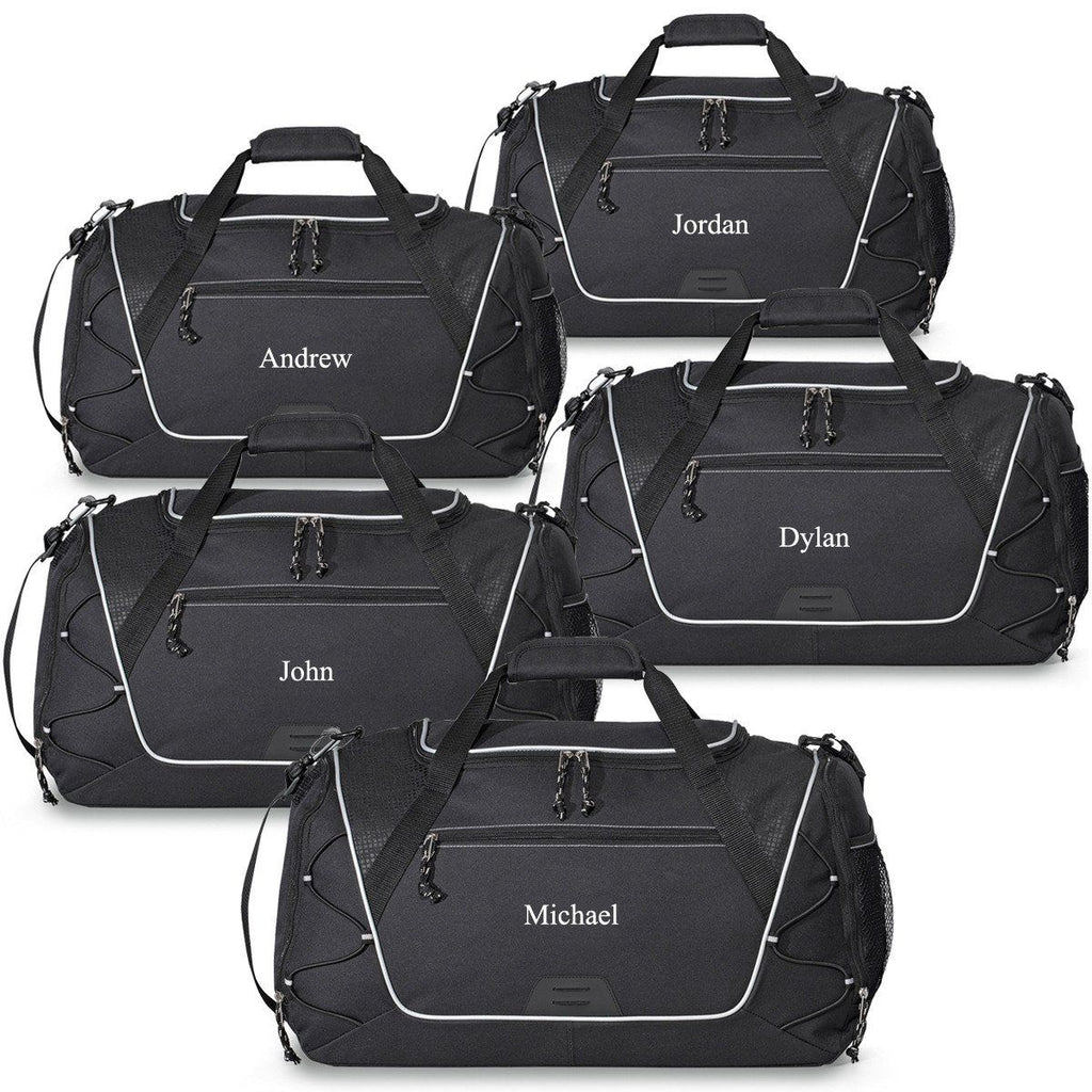 Personalized Black Sports Duffel Bags for Groomsmen - Set of 5 Bags