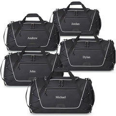 Personalized Sports Weekender Duffel Bag - Set of 5-Black-