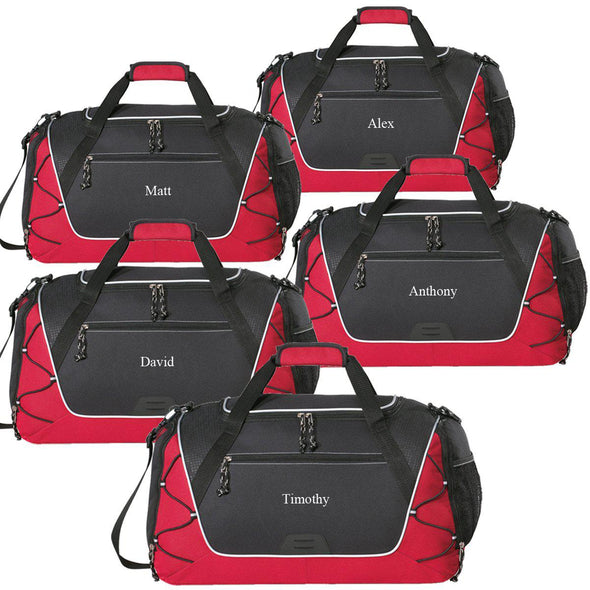 Personalized Sports Weekender Duffel Bag - Set of 5-Red-