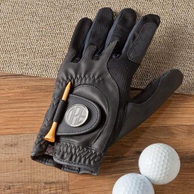 Personalized Golf Glove - Leather - Magnetic Ball Marker - Groomsmen-Black-