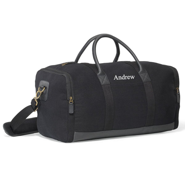 Personalized Groomsmen Heavy Canvas Duffel Bag-Travel Gifts-JDS-Black-