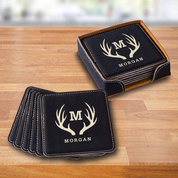 Personalized Black Square Coaster Set