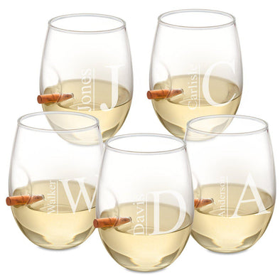 Personalized Set of 5 Bulletproof Wine Glasses