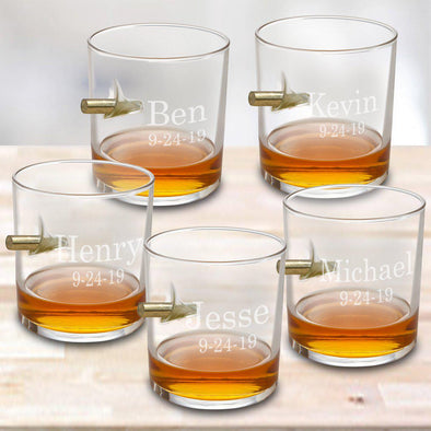 Set of 5 Wedding Personalized Bullet Lowball Whiskey Glasses