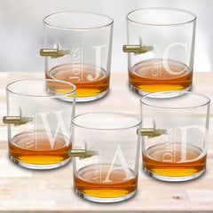 Personalized Whiskey Glasses - Lowball Glass - Bulletproof - Set of 5
