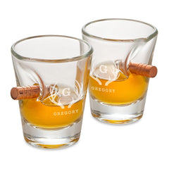 Groomsmen Personalized Bullet Shot Glass - Set of 2-Barware-JDS-Antlers-