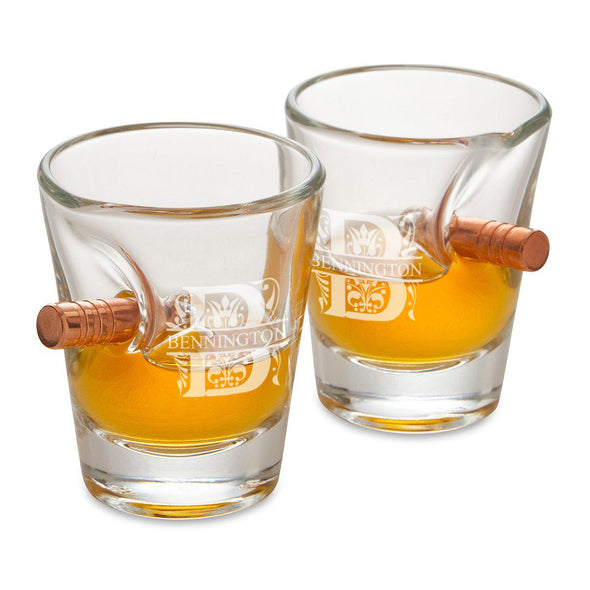 Groomsmen Personalized Bullet Shot Glass - Set of 2-Barware-JDS-Filigree-