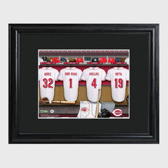 Personalized MLB Clubhouse Framed Print-Cincinnati Reds-