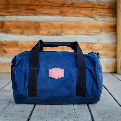 Personalized Waxed Canvas Groomsmen Duffle Bag - Blue