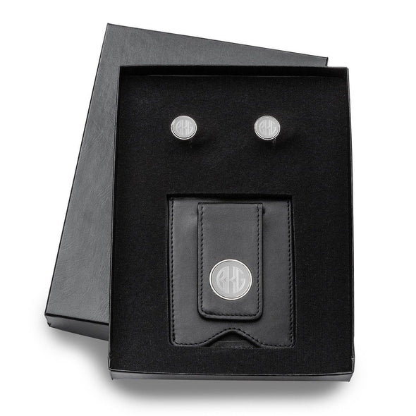 Engraved Leather Wallet & Monogrammed Cufflinks Gift Set-Black-