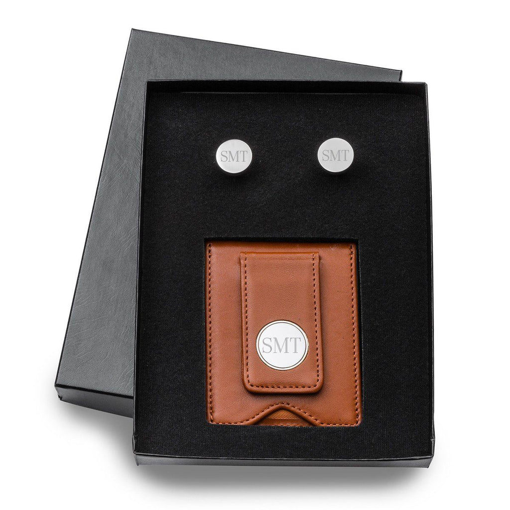 Engraved Brown Leather Wallet & Pin Stripe Cuff Links Gift Set