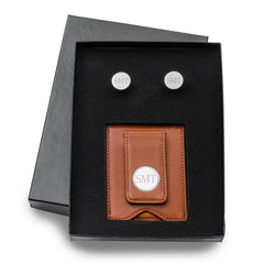 Engraved Brown Leather Wallet & Pin Stripe Cuff Links Gift Set-Groomsmen Gifts