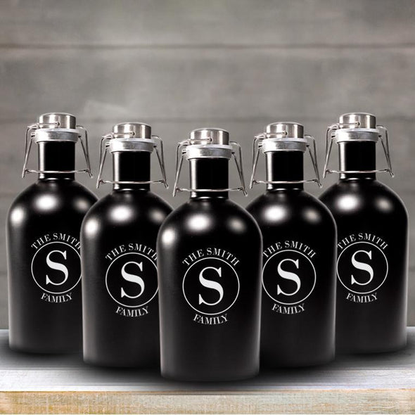 Personalized Groomsmen Matte Black Growler Set of 5 - 64 oz.