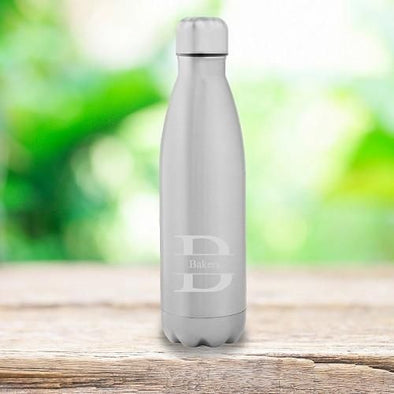 Personalized Stainless Steel Water Bottle - Monogrammed Water Bottles for Groomsmen-Stamped-