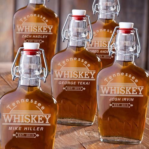 Personalized Flasks - Set of 5 - Glass - Groomsmen - 8.5 oz.-Whiskey-