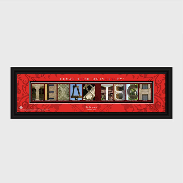 Personalized Big 12 Division Conference Architectural Campus Art - University College Art-TexasTech-