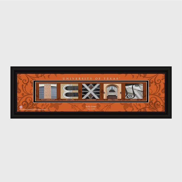 Personalized Big 12 Division Conference Architectural Campus Art - University College Art-Texas-