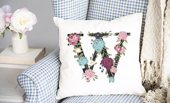 Floral Alphabet Throw Pillow Covers (Non-Personalized)