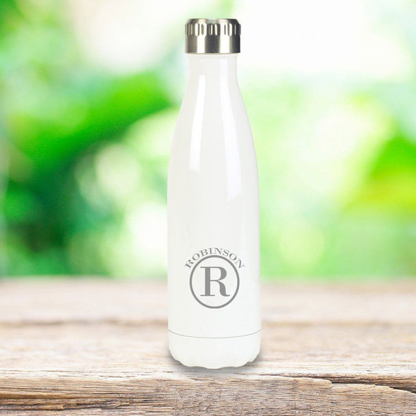 Personalized Groomsmen White Stainless Steel Double Wall Insulated Water Bottle-Circle-