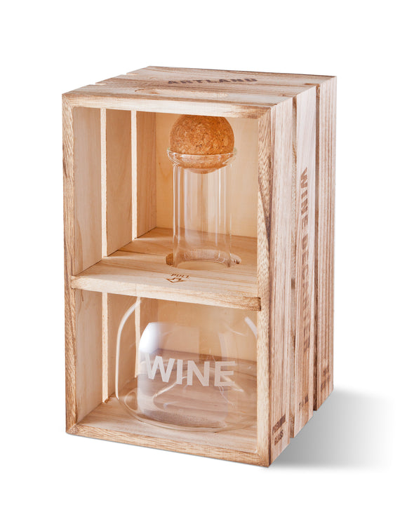 Personalized Wine Decanter in Wood Crate with set of 2 Stemless Wine Glasses-