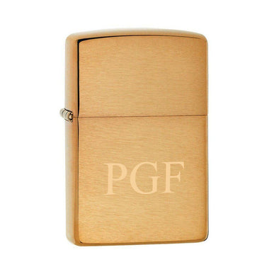 Personalized Brushed Brass Zippo Lighter-3Initials-