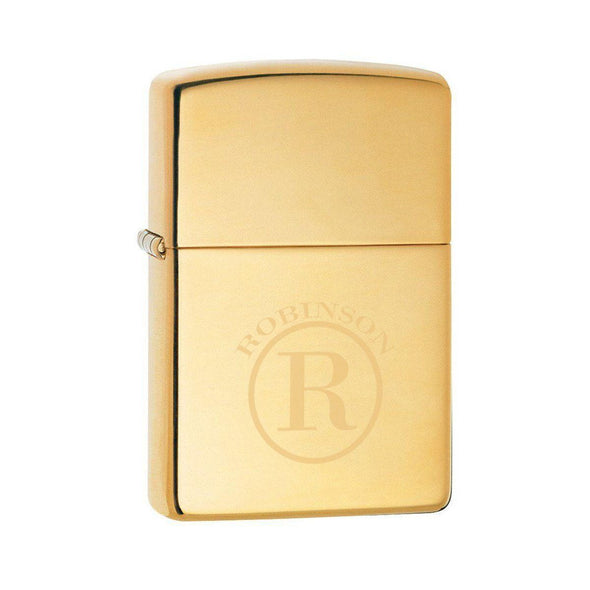 Personalized Lighter - Zippo - High Polish Brass - Groomsmen Gifts-Circle-