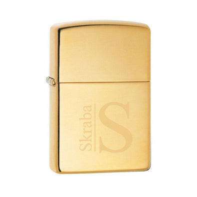 Personalized Lighter - Zippo - High Polish Brass - Groomsmen Gifts-Modern-