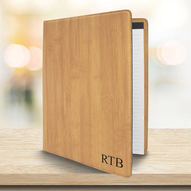 Personalized Bamboo Portfolio with Notepad - Padfolio
