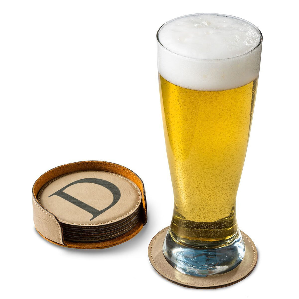 Personalized Light Brown Round Leatherette Coaster Set