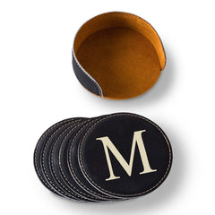 Personalized Black Round Leatherette Coaster Set-Default-