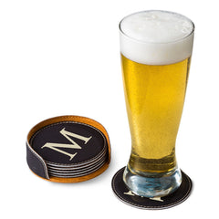 Personalized Black Round Leatherette Coaster Set-Groomsmen Gifts