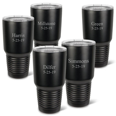 Personalized Húsavík Tumblers - Set of 5 - Insulated - Black - 30 .oz-