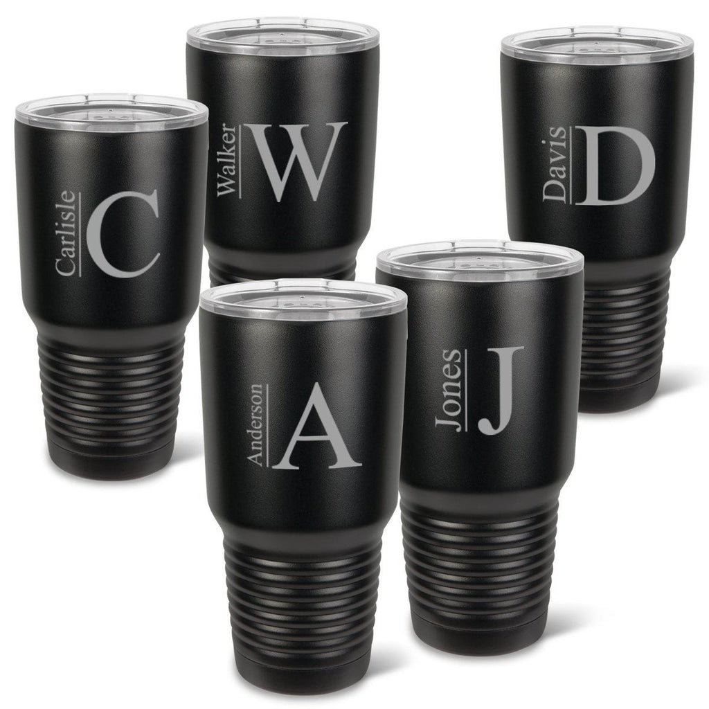 Personalized Húsavík Tumblers - Set of 5 - Insulated - Groomsmen - Matte Black - 30 oz.