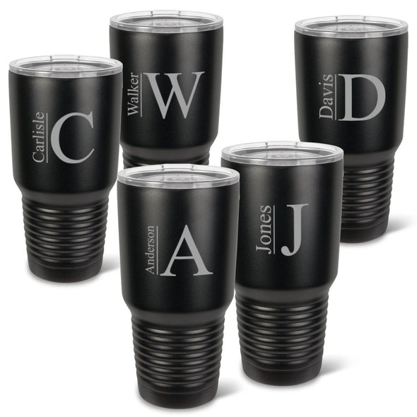 Personalized Húsavík Tumblers - Set of 5 - Insulated - Groomsmen - Matte Black - 30 oz.-Modern-