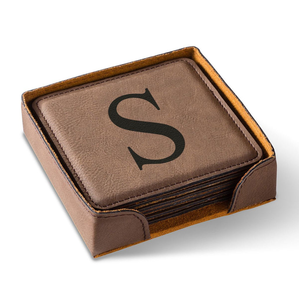 Personalized Dark Brown Square Leatherette Coaster Set