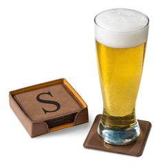 Personalized Dark Brown Square Leatherette Coaster Set-Groomsmen Gifts
