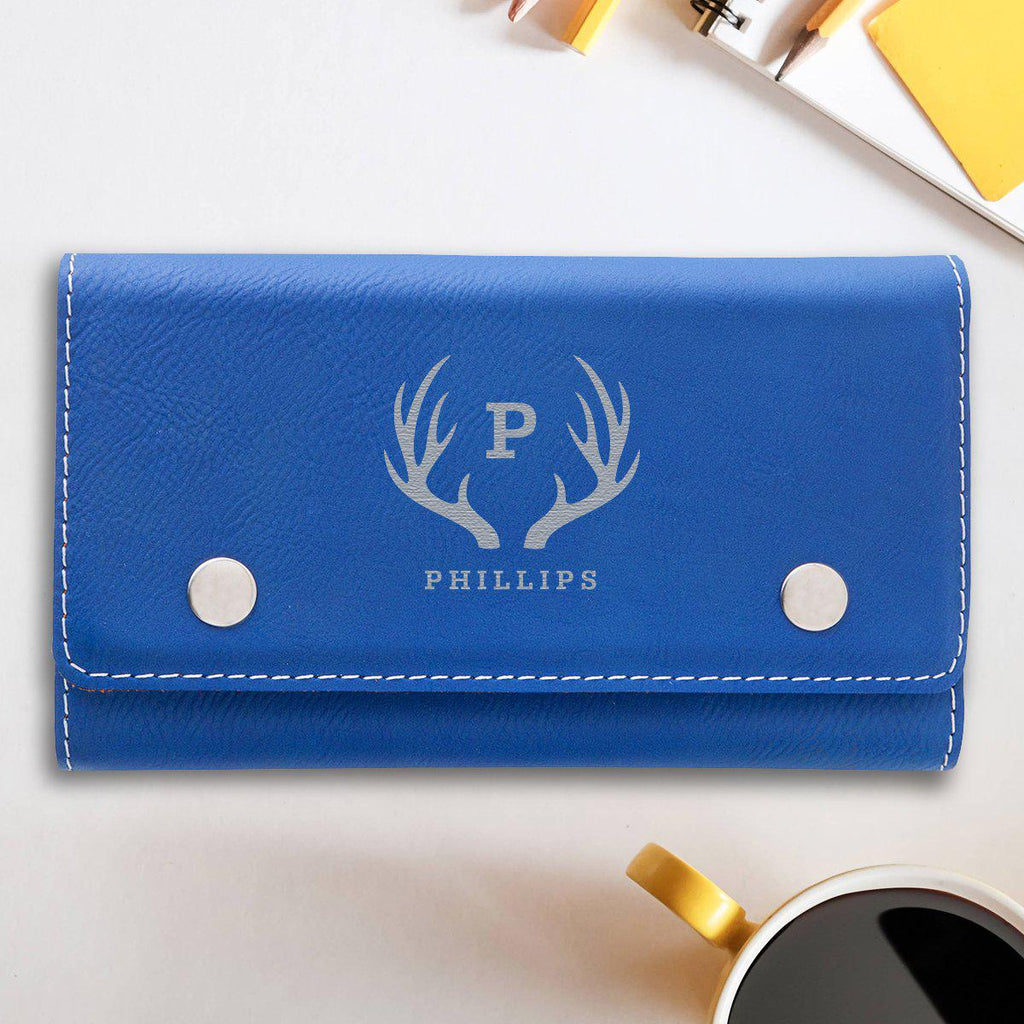 Personalized Poker Game Set - Blue Leatherette