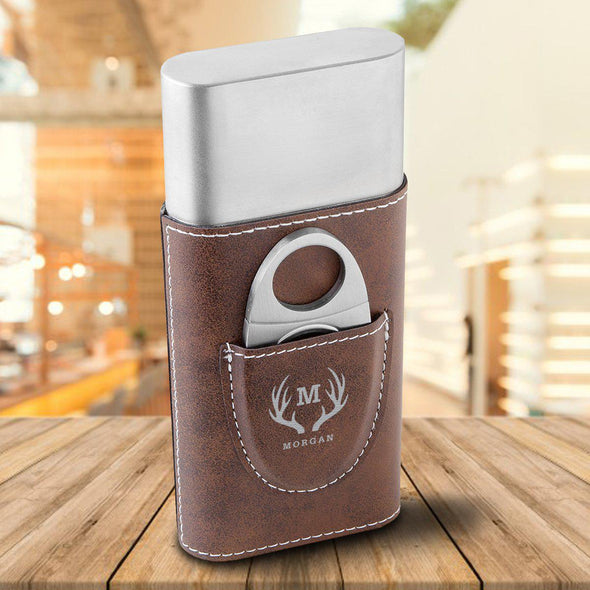 Personalized Cigar Holder - Rustic Brown