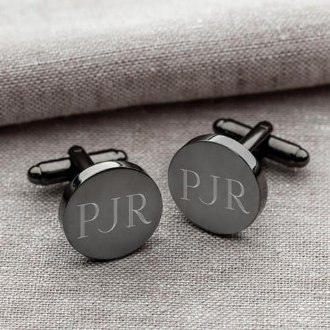 Personalized Gunmetal Round Cufflinks-Groomsmen Gifts