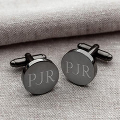 Personalized Cufflinks - Gunmetal - Round - Groomsmen Gifts-Cufflinks-JDS-