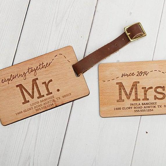 Personalized Couples Wooden Luggage Tags - Set of 2!