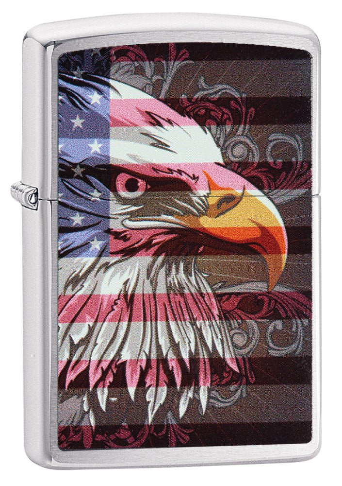 Personalized Brushed Chrome Eagle & Flag Zippo Lighter