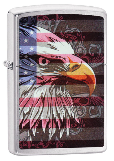 Personalized Brushed Chrome Eagle & Flag Zippo Lighter-